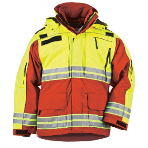 5.11 Tactical Responder High-Visibility Parka Men's Full Zip Coat in Range Red - Small