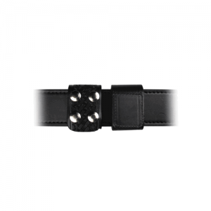 Boston Leather Double Wide Belt Keeper in Black Basket Weave - 5496-3