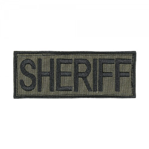 Law Enforcement Patches Color: OD Green 9  x 4 1/8  Patch Logo: Sheriff