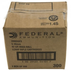 Federal Cartridge .223 Remington/5.56 NATO Full Metal Jacket Boat Tail, 62 Grain (300 Rounds) - XM855F3