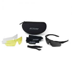 Crosshair 3LS (Clear, Smoke Gray & Hi-Def Yellow) - Black frame. One fully-assembled Crosshair frame w/Smoke Gray Lens & two interchangeable lenses: Clear & Hi-Def Yellow. Small zippered hard case, microfiber cleaning pouch & elastic retention strap