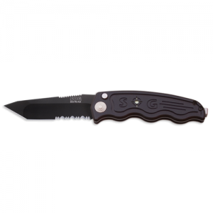 """SOG SOG-TAC Automatic Folding Knife, 3.5"""" Tanto Partially Serrated Blade - ST-04"""