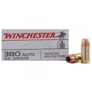 Winchester .380 ACP Jacketed Hollow Point, 95 Grain (50 Rounds) - USA380JHP
