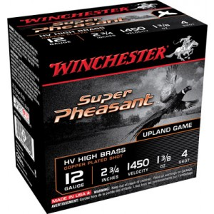 "Winchester Super Pheasant Plated HV .12 Gauge (2.75"") 4 Shot Copper-Plated Lead (250-Rounds) - X12PHV4"