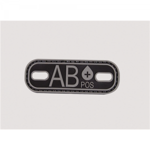 MORALE PATCH, BLOOD TYPE AB+, BLK/GREY