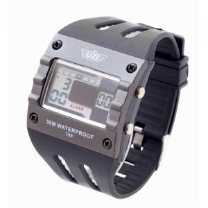 UZI Digital Sports Watch, 3ATM, Multi Function, Back Glow, Stainless Steel Caseback, Rubber Strap