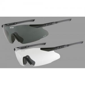 ICE-2X (Medium/Large Fit) - Black Frames. Two fully-assembled eyeshields: (1) w/Clear lens & (1) w/Smoke Gray lens. Zippered hard case, no fog cloth & elastic retention strap