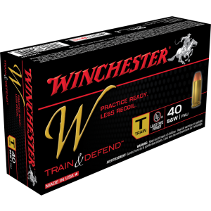 Winchester Ammunition W Train & Defend .40 S&W Full Metal Jacket, 180 Grain (50 Rounds) - W40SWT