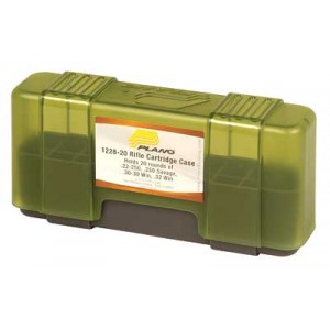 Plano Ammunition Box, Holds 20 Rounds Of .22-250/.250 Savage Rifle Rounds, Charcoal/green , 6 Pack 1228-20