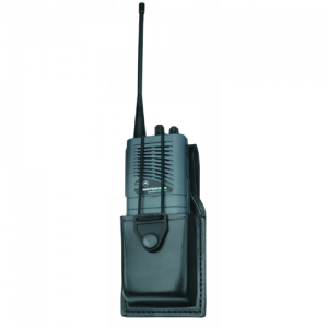 Universal Swivel Radio Case  Universal Swivel Radio Case Black Weave Finish Case is 1-3/4 in. D x 2-7/8 in. W x 4-3/4 in. H. Elastic cord with snap closure adjusts to hold radios of various heights.