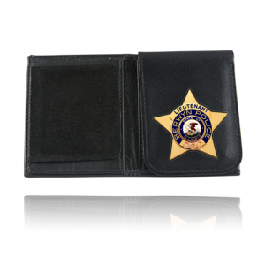Book Style Badge Wallet with Flip-Out Badge Flap Badge Style: Generic Oval (3 3/4  x 2 5/8 )
