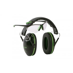 Allen Gamma Junior Earmuff & Glasses Combo, Black/green Plastic, Nrr 23 Rated, Anti-fog/clear Lenses, Adjustable, Foldable 2325