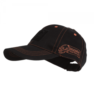 Voodoo Classic Cap With Removable Flag Patch Cap in Black with Red Stitching - One Size Fits Most