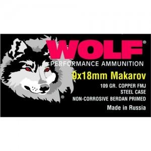 Wolf Performance Ammo 9X18 Makarov Full Metal Jacket, 100 Grain (1000 Rounds) - 918FMJ