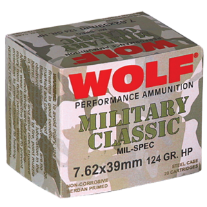 Wolf Performance Ammo Military Classic 7.62X39 Jacketed Hollow Point, 124 Grain (1000 Rounds) - MC762BHP