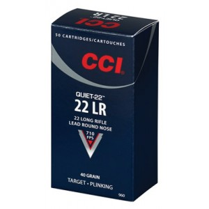 CCI Speer Quiet-22 .22 Long Rifle Lead Round Nose, 40 Grain (50 Rounds) - 960