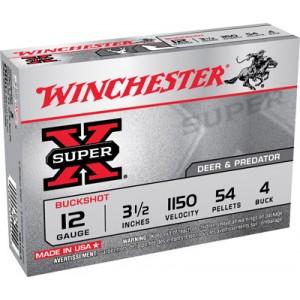 "Winchester Super-X .12 Gauge (3.5"") 4 Buck Shot Lead (5-Rounds) - XB12L4"