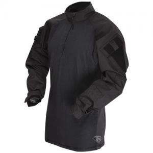 Tru Spec Combat Shirt Men's 1/4 Zip Long Sleeve in Black - Small