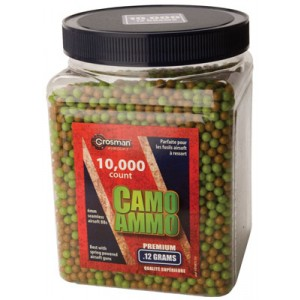 Crosman Air Guns Camo Ammo BBs .12 Gr 6mm Plastic Airsoft 10,000 Count ASP10K12