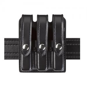 Boston Leather Dress Belt W/ Stitched Edge in Black Plain - 48