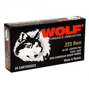 Wolf Performance Ammo Performance .223 Remington/5.56 NATO Full Metal Jacket, 55 Grain (500 Rounds) - 22355FMJTINS