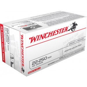 Winchester Best Value .22-250 Remington Jacketed Hollow Point, 45 Grain (40 Rounds) - USA222502